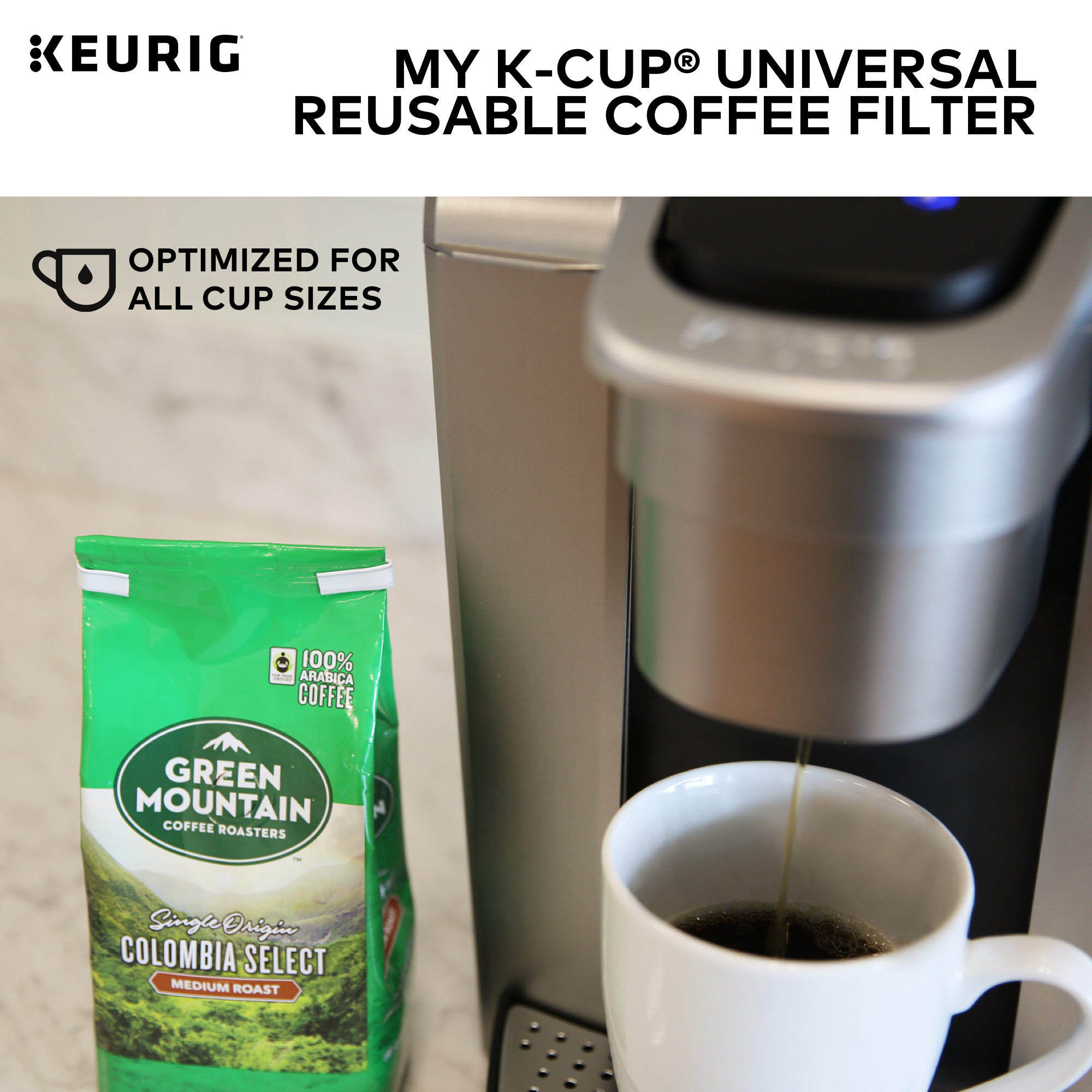 Keurig My K-Cup Universal Reusable Ground Coffee Filter, Compatible