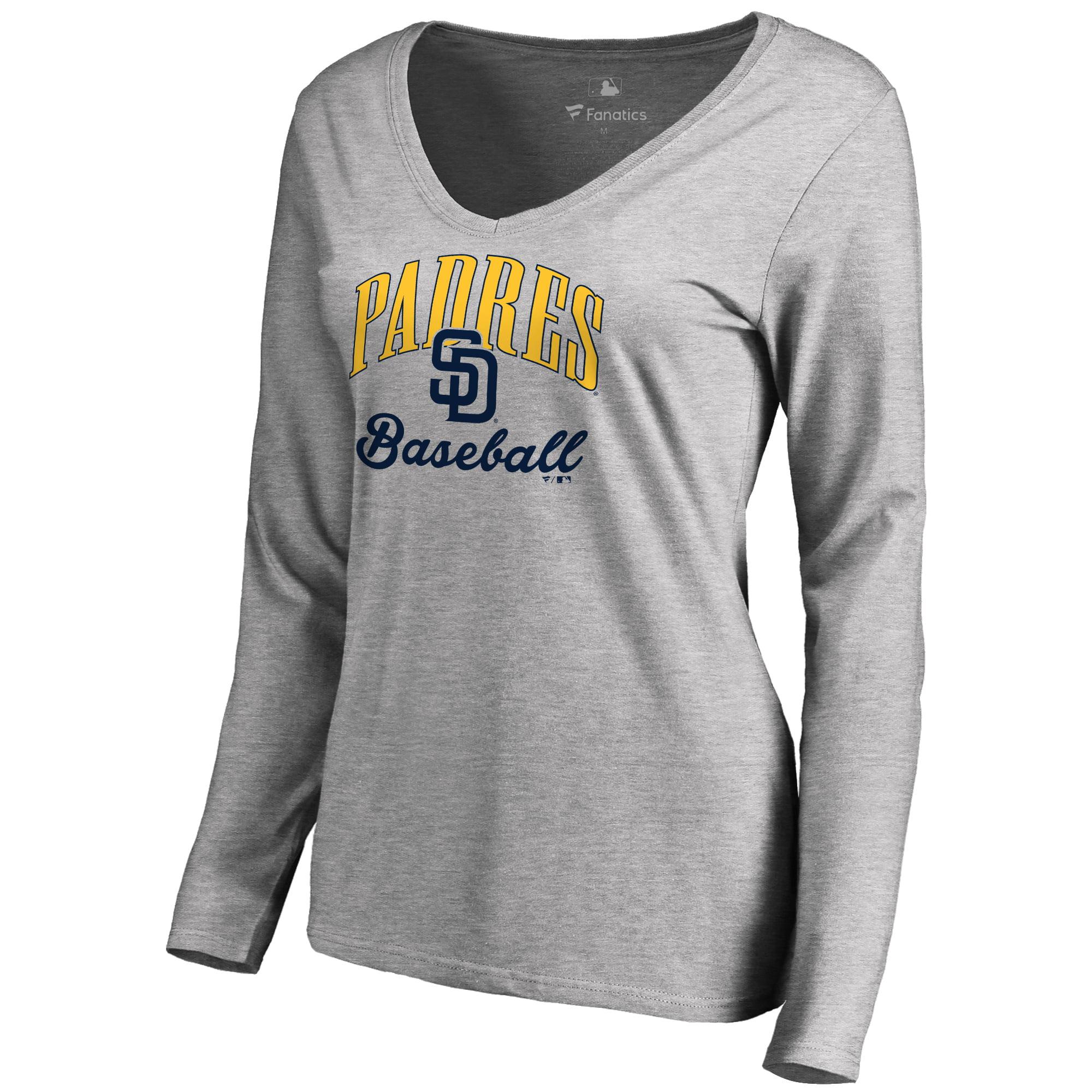 San Diego Padres Women's Victory Script Long Sleeve T-Shirt - Ash