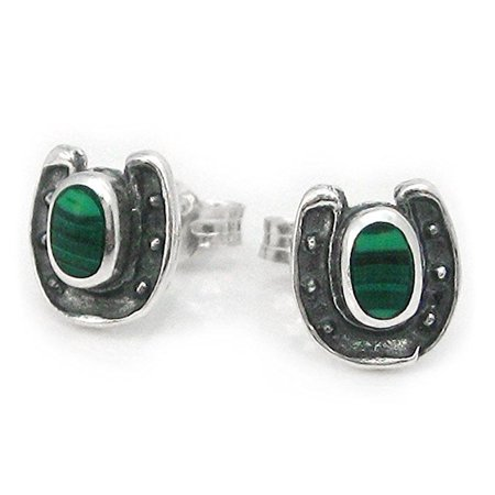 - Sterling Silver Lucky Horseshoe Stone Stud Post Earrings, Malachite