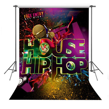 Backdrop City Hip Hop (HelloDecor Polyster Background 5x7ft House Hip-Hop Party Photography Backdrop Studio Photo)