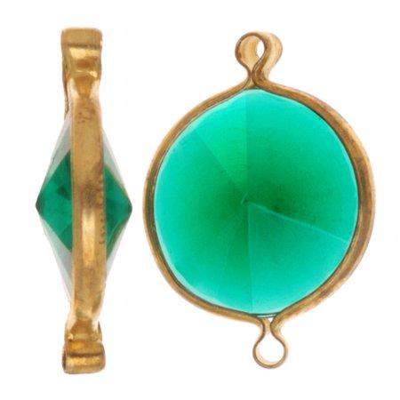 Lucite Link (Vintage Lucite Antiqued Gold Toned Rivoli Pendant Link Emerald 22mm (6) )