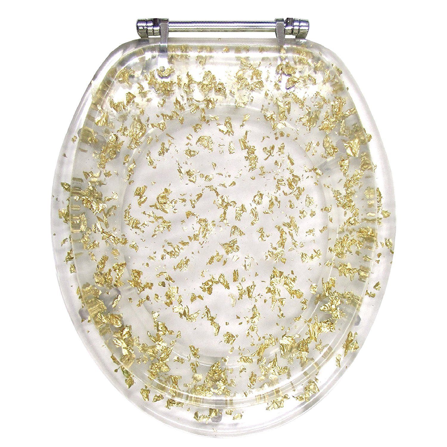 Wondrous Gold Foil Resin Acrylic Toilet Seat Elongated Size Chrome Hinges Walmart Com Caraccident5 Cool Chair Designs And Ideas Caraccident5Info