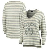 Nebraska Cornhuskers Women's Super Soft Brushed Stripe V-Neck Sweatshirt - Cream/Gray
