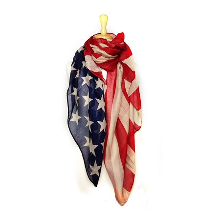 USA Patriotic American Flag Lightweight Scarf Wrap Soft & Large - Vintage