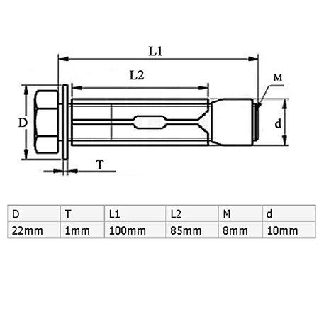 M8x100mm Yellow Zinc Plated Hex Head Expansion Bolts Sleeve Anchor Screw 6pcs - image 3 de 4