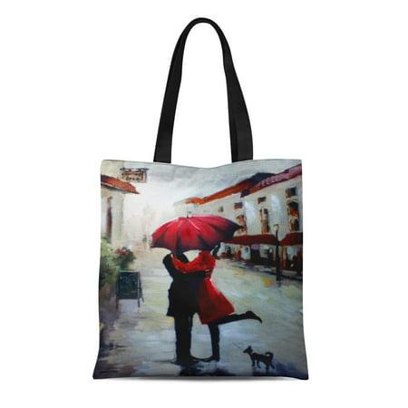 ASHLEIGH Canvas Tote Bag Love Vintage Couple Umbrella and Pretty City Streets Village Reusable Handbag Shoulder Grocery Shopping Bags