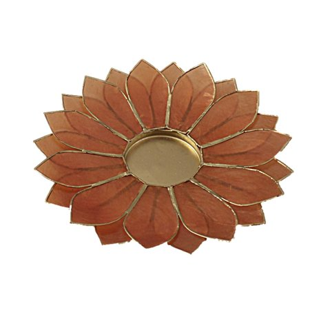 The Crabby Nook Lotus Candle Holder Capiz Shell Flat 2 Layer Decorating Accent Home Decor Gift Ideas, Amber Orange