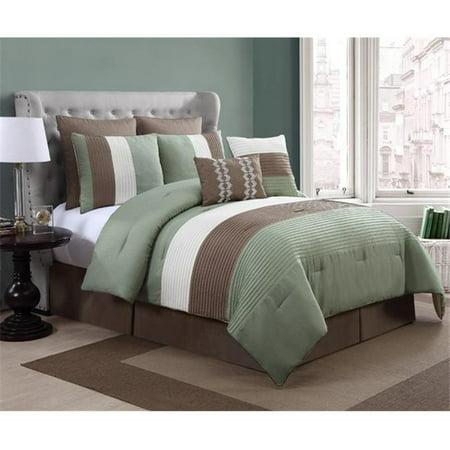 Luxury Home Reggata Comforter Set Queen Lite Green 8