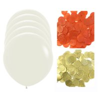 """36"""" Confetti Balloon Jumbo Latex Balloons with Confetti Party Decoration (set of 5) - Pink, Gold & White Confetti Balloons"""