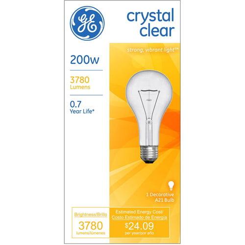 GE 200-Watt Crystal Clear A21 Light Bulb, 1-Pack by Generic