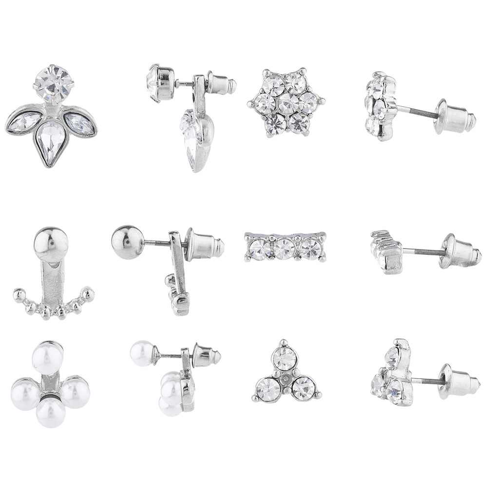 Lux Accessories Silver Tone Faux Pearl Crystal Ear Jacket Multi Earring Set 6PC