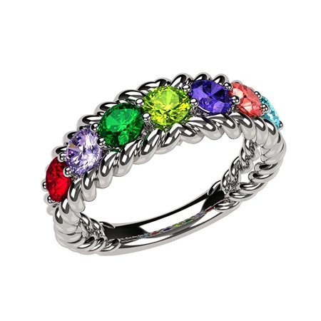 Rope Mothers Ring 1 to 10 Simulated Birthstones - Sterling Silver -Size 5