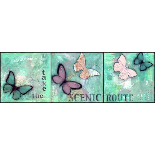 LPG Greetings Life Lines Take The Scenic Route by Monica Sabolla Gruppo Painting Print Plaque
