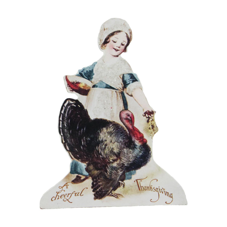 "6.75"" Child Feeding A Turkey Vintage-Style Thanksgiving Decoration"