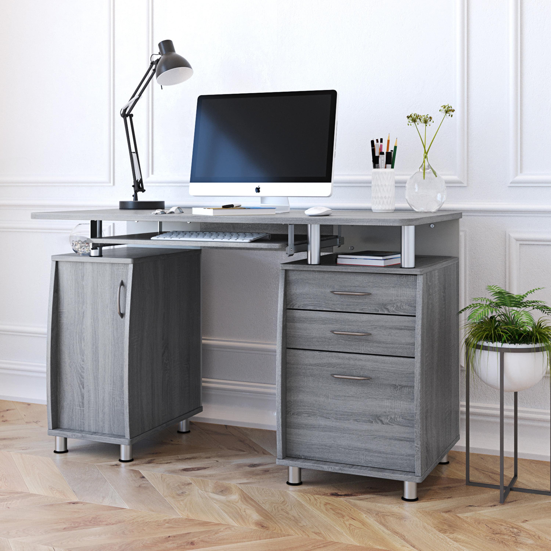 Picture of: Techni Mobili Complete Workstation Computer Desk With Storage Drawers Grey Walmart Com Walmart Com