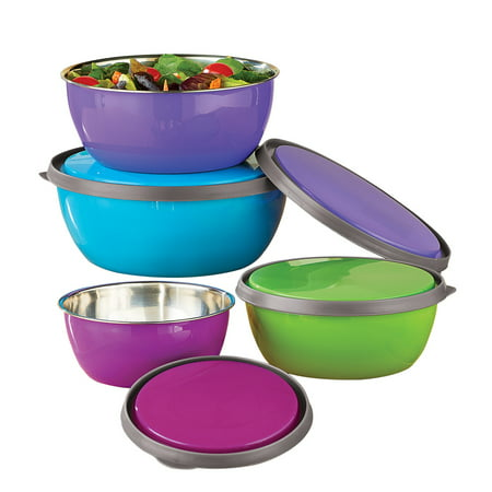 Colorful Stainless Steel Kitchen Nesting Bowls with Lids to Store, Prep, Serve - Set of 4, 12 oz - 38 (Large Nesting Bowl)