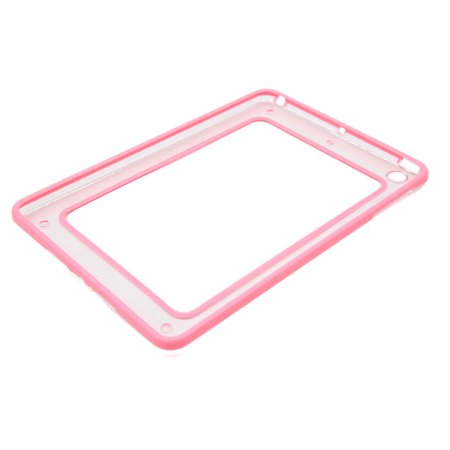 Out Bumper (Pink Rubber Edge Plastic Hollow Out Bumper Case Protector for iPad Mini1 Mini2 )
