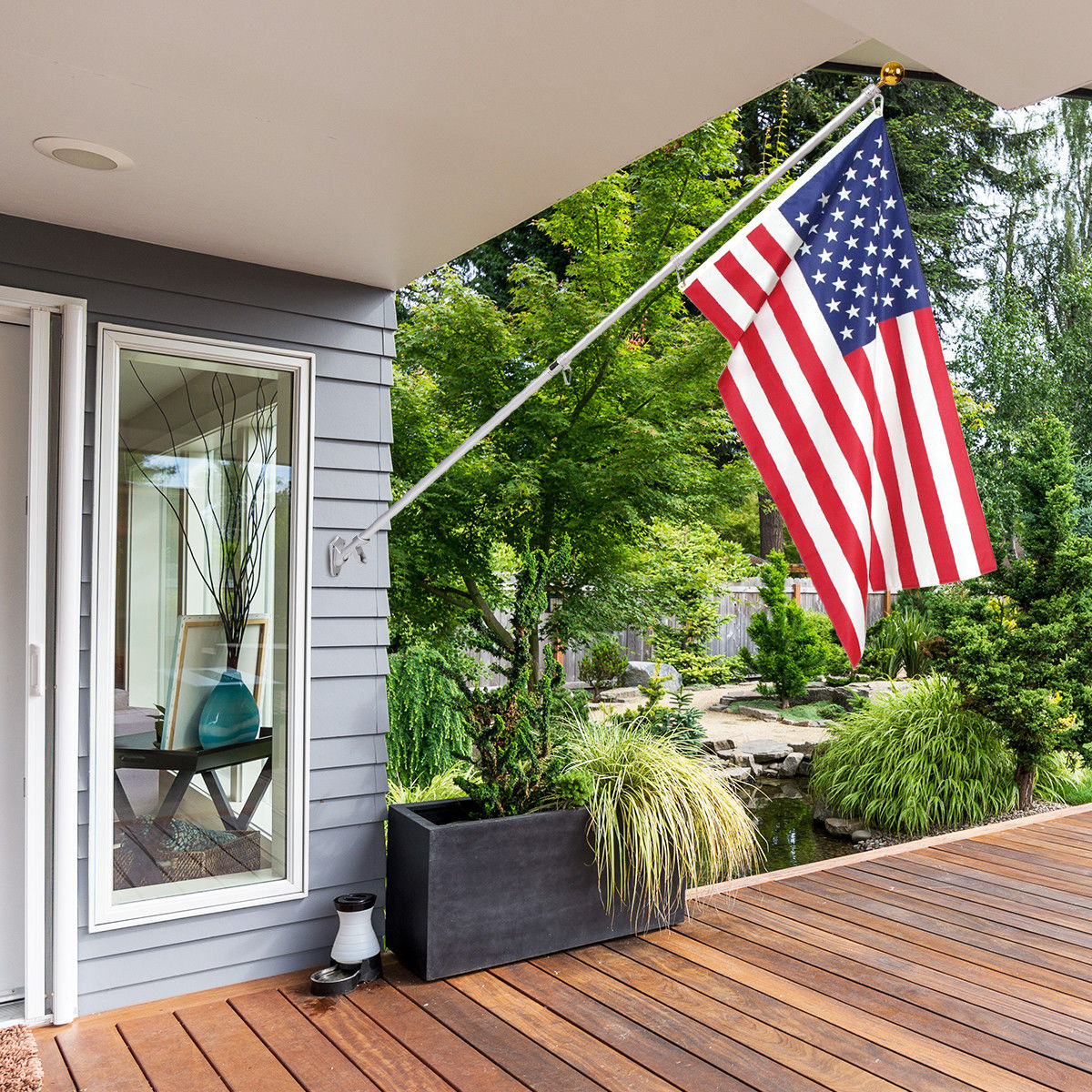 Costway American Flag Kit Wall Mount 6 Ft Spinning pole 3'x5' US Flag Gold Ball Aluminum