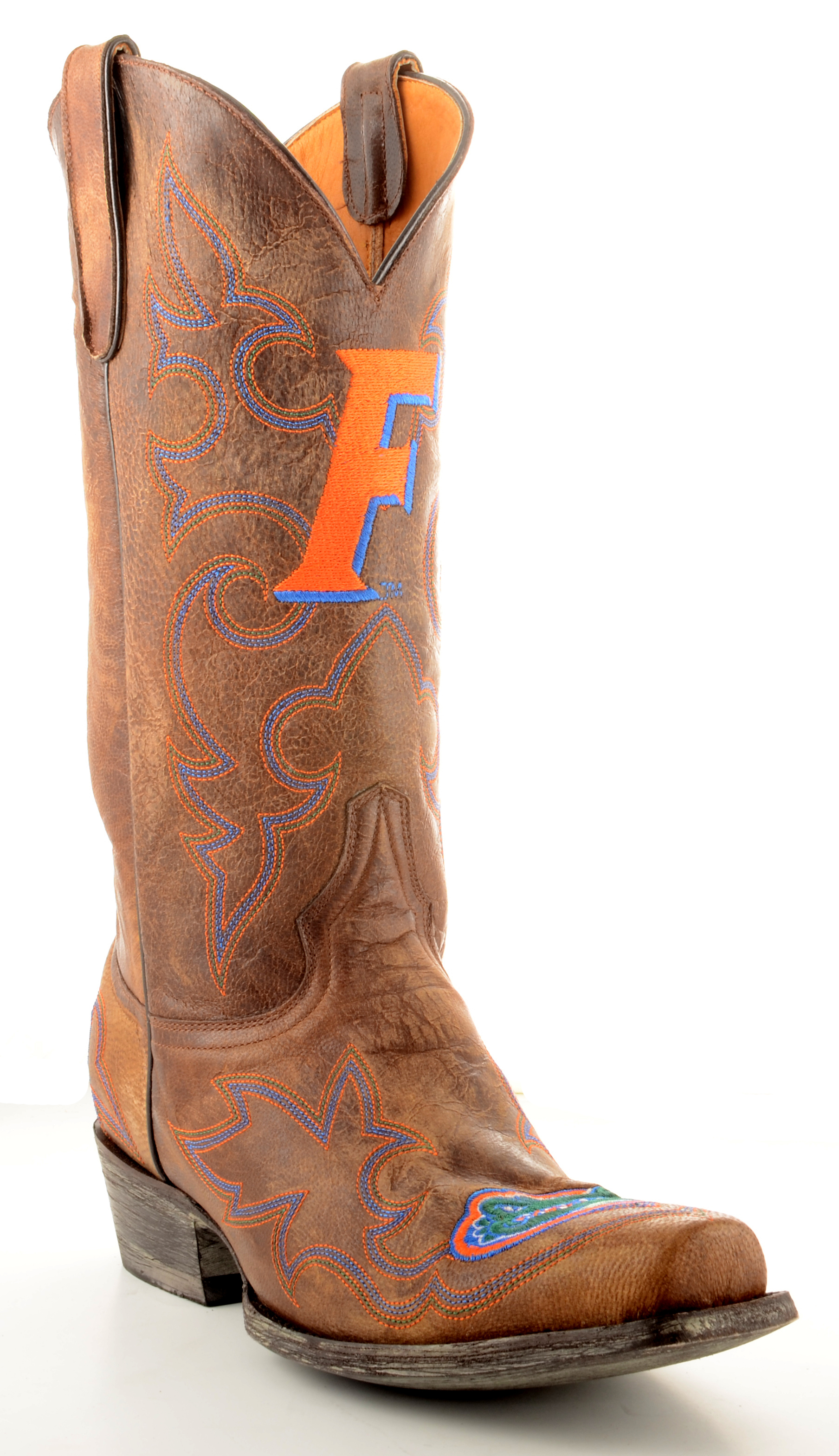 "Men's Tan Florida Gators 13"" Original Embroidered Boots by GameDay Boots"