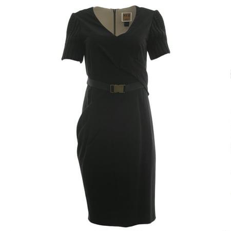 Belted Knit Dress (NUE by Shani Women's Knit Sleeve Belted Sheath Dress )