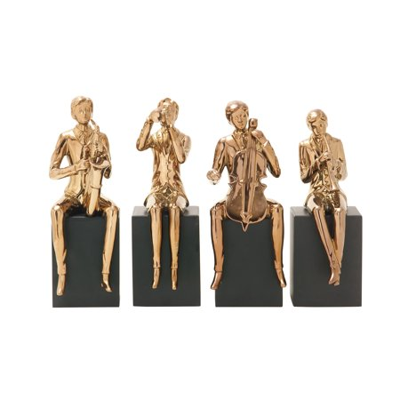 Decmode Eclectic 13 Inch Ceramic Musician Sculptures, Copper Gold - Set of -
