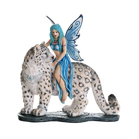 Decorative Companion Fairy Hima with Snow Leopard Collectible Decorative Statue 8H ()