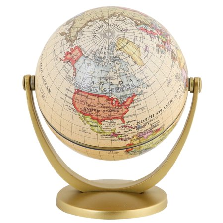 Exerz Mini Antique Globe 4-inch / 10 cm - Swivels in All Directions Educational, Decorative, Unique, Small World, Desktop, Vintage (Mini Antique Globe) Spherical Antique Globe