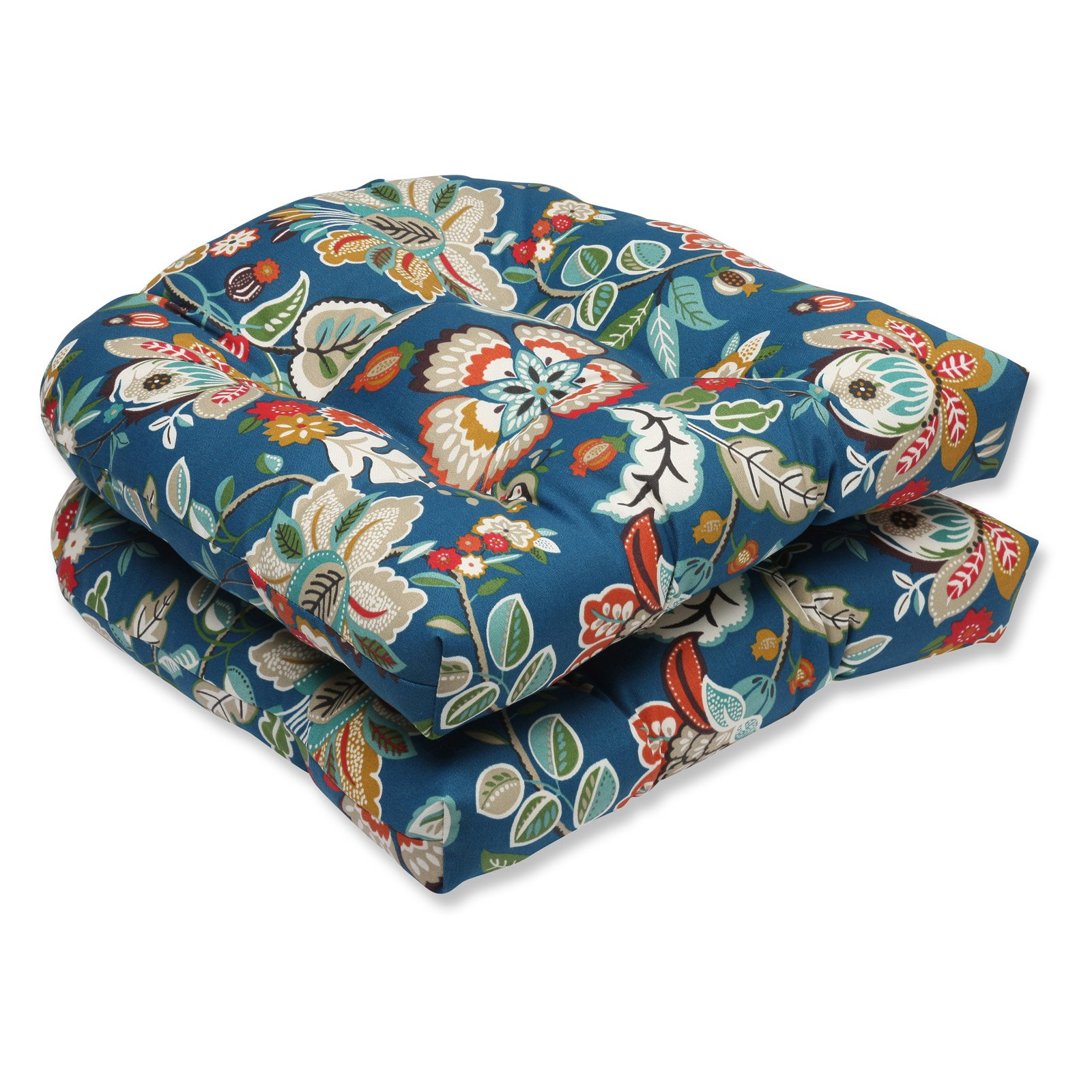 Pillow Perfect Outdoor/ Indoor Telfair Peacock Wicker Seat Cushion (Set of 2)