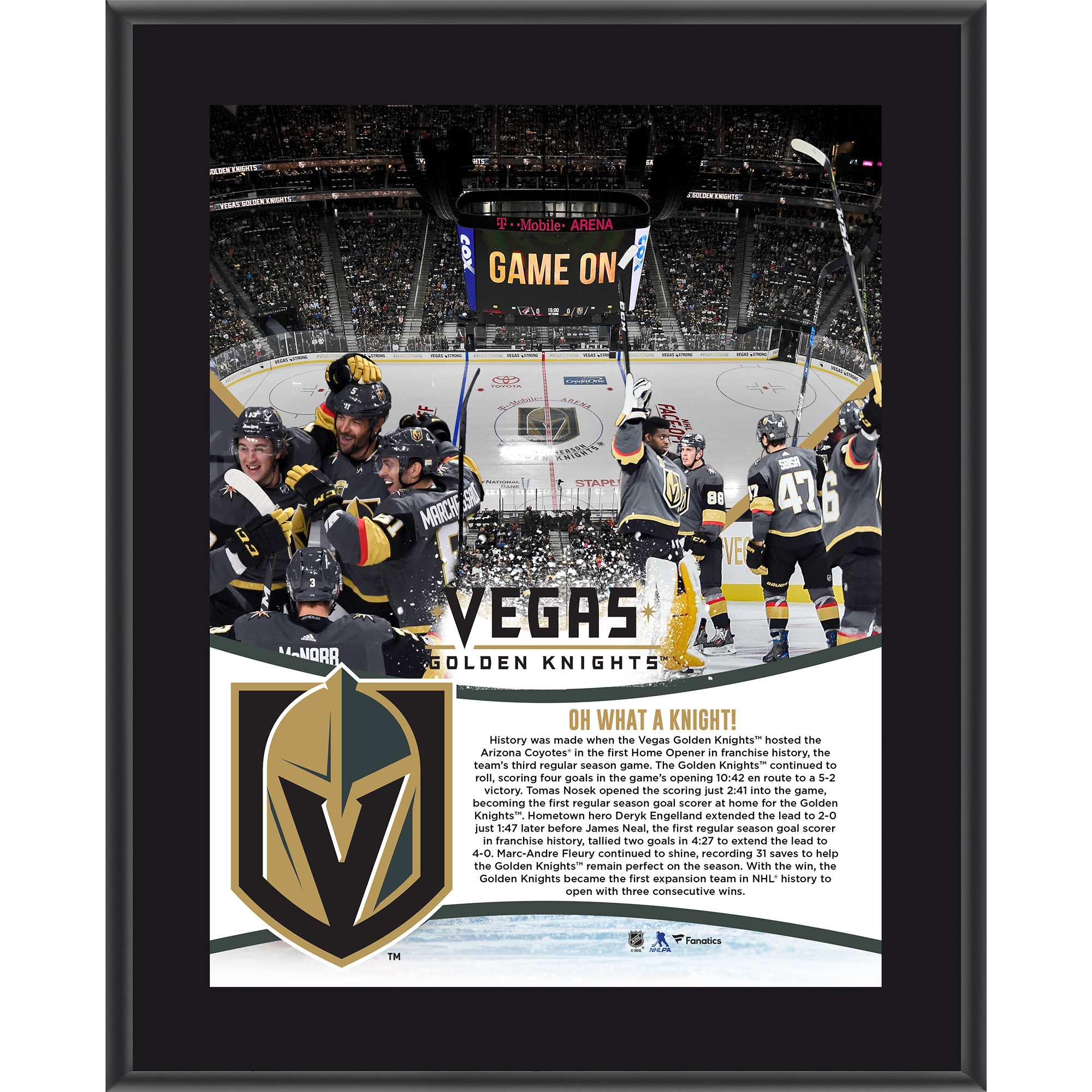 "Vegas Golden Knights Fanatics Authentic 10.5"" x 13"" 2017 Inaugural Season Opening Night Victory Sublimated Plaque - No Size"