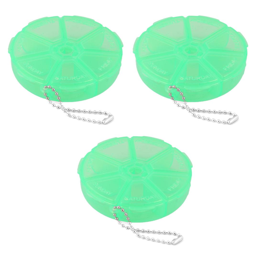 Outdoor Plastic Round 7 Compartments Capsule Pills Storage Box Case Green 3pcs