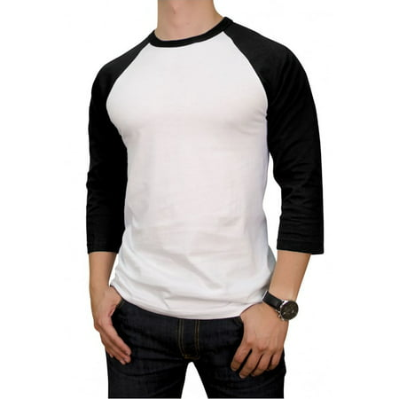 Top Pro Apparel Men's 100% Cotton 3/4 Length Sleeve Raglan Baseball