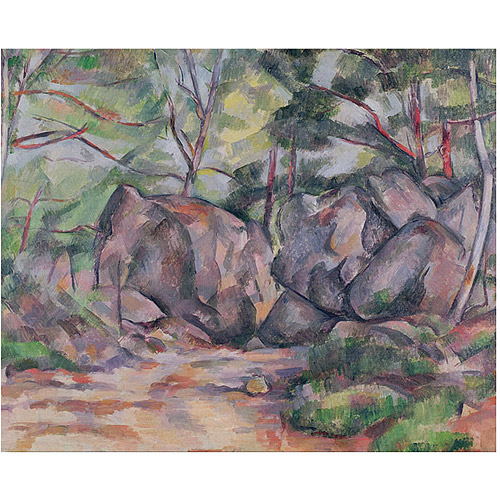 "Trademark Fine Art ""Woodland with Boulders, 1893"" Canvas Art by Paul Cezanne"