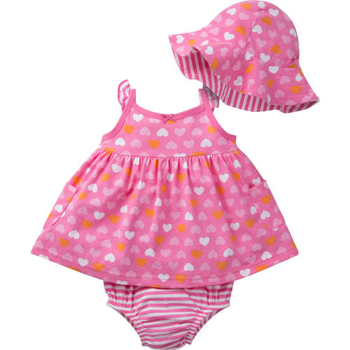 Gerber Newborn Baby Girl 3-Piece Dress, Panty, and Hat Outfit Set