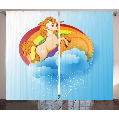 - Unicorn Home and Kids Decor Curtains 2 Panels Set, Unicorn with a Single Horn Forehead on Sun Fluffy Clouds Art Print, Window Drapes for Living Room Bedroom, 108W X 90L Inches, Multi, by Ambesonne