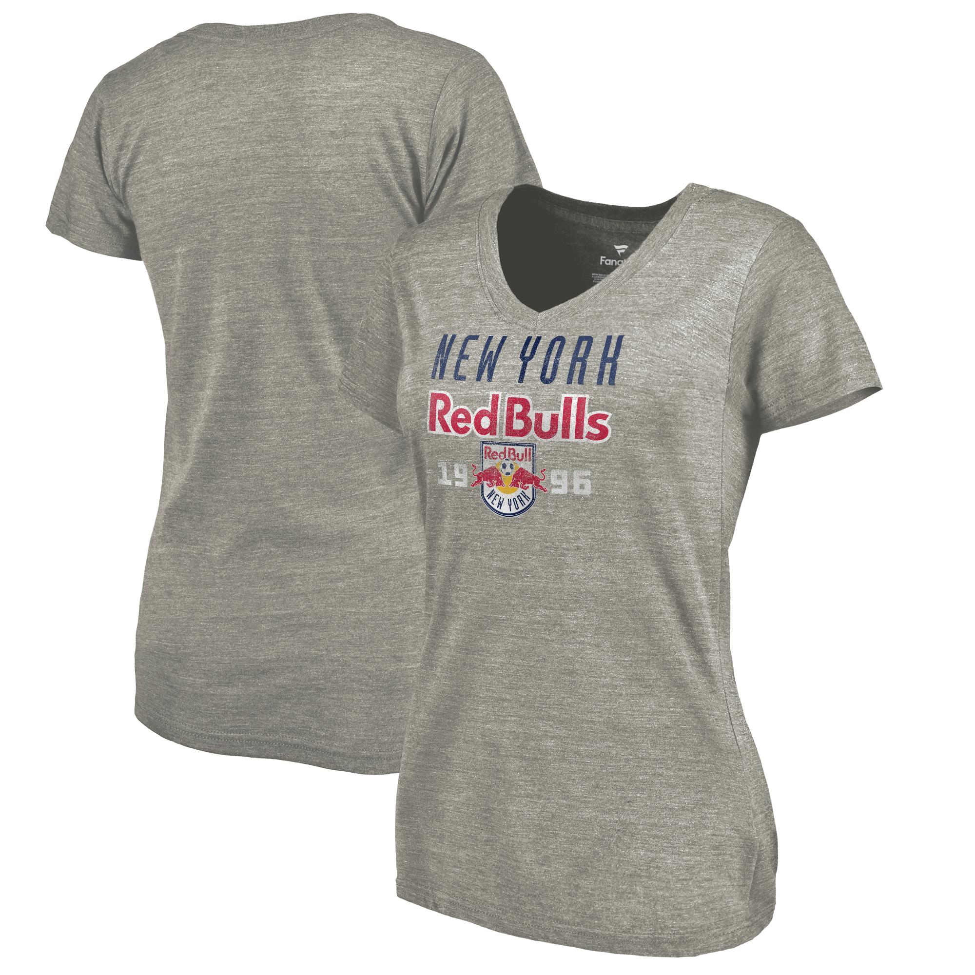 New York Red Bulls Fanatics Branded Women's Antique Stack Tri-Blend V-Neck T-Shirt - Heathered Gray