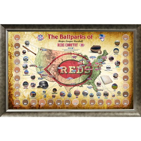 "Major League Baseball Parks ""Map"" 20x32 Framed Collage w  Game Used Dirt From 30 Parks Reds Version Cincinnati Reds GUBBDIRTPARKCIN by"