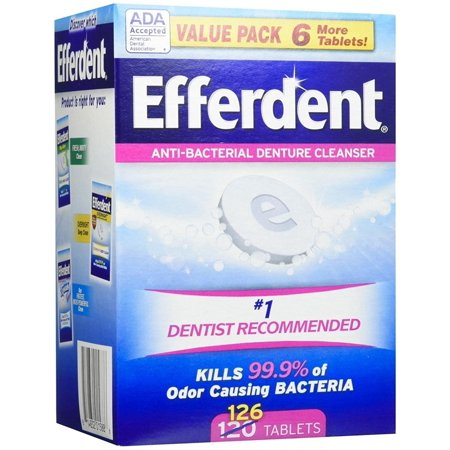 Efferdent Original Anti-Bacterial Denture Cleanser Tablets, 126