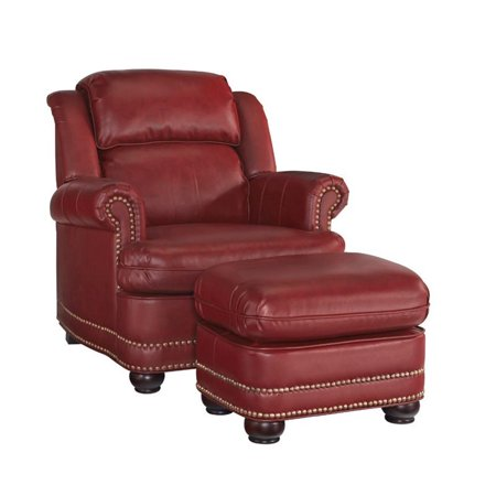Bowery Hill Faux Leather Club Chair with Ottoman in Red ()