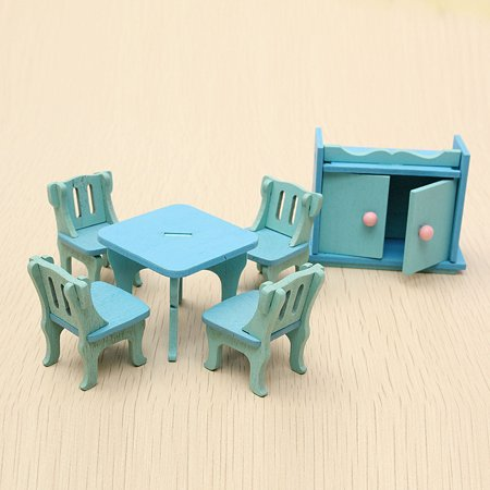 6Pcs Blue Wooden Miniature Dining Room Table Set For Dolls Dollhouse