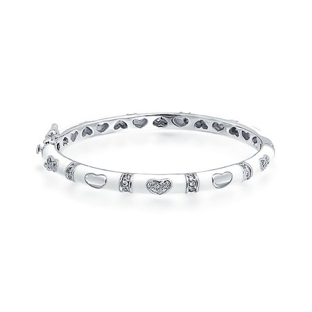 Tiny Bangle Bracelet Pink Or White Enamel CZ Pave Hearts Silver Plated Brass For Small Wrists 4.5-5.5 Inch ()