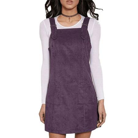 Women Corduroy Adjustable Strap Clearance Suspender Short - Fine Corduroy Dress