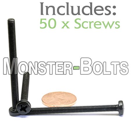 (50) M4 - 0.7 x 50mm - Metric Phillips Pan Machine Screw (Type H) Black Oxide Oil - DIN 7985A - MonsterBolts (50, M4 x 50mm)