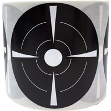 Black with White Target Paster Stickers, 3 Inches Round, 100 Labels on a Roll ()
