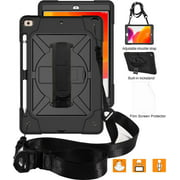 "iPad 7th Generation Cases with Screen Protector, iPad 10.2"" 2019 Case, Allytech Heavy Duty Shockproof Protective Covers with 360 Rotate Stand /Hand Strap/ Should Belt /Pencil Holder,Black"