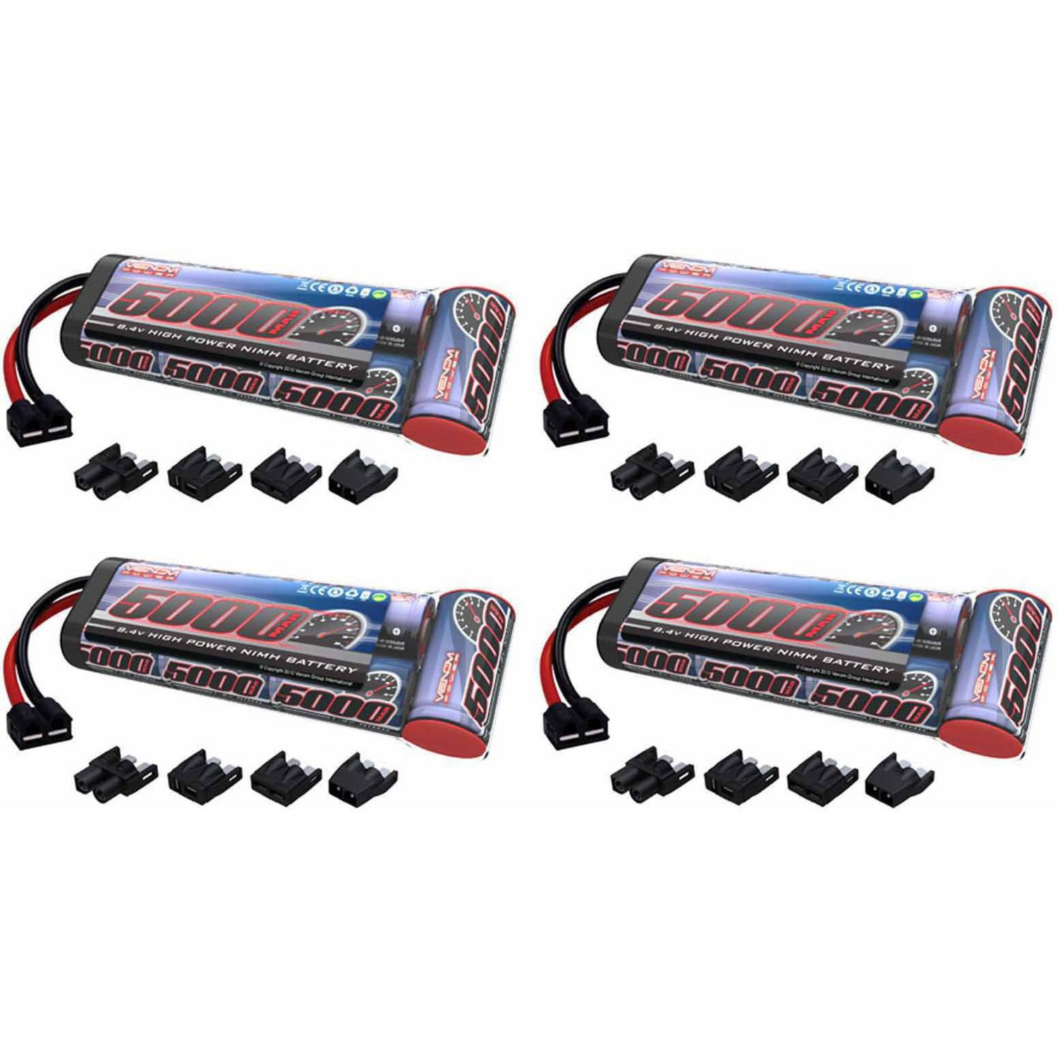 Venom 8.4V 5000mAh 7-Cell NiMH Battery Flat with Universal Plug (EC3/Deans/Traxxas/Tamiya) x4 Packs