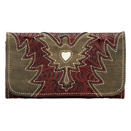 Distressed Tri Fold - American West 9270282 Eagle Heart Ladies Tri-Fold Wallet - Distressed Crimson & Distressed Charcoal Brown