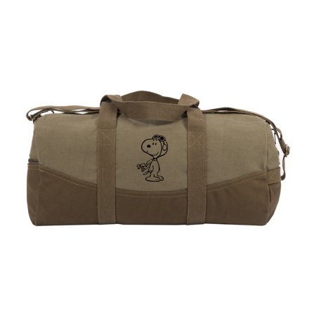 WW1-Pilot Snoopy Two Tone 19in Duffle Bag with Brown Bottom and Detachable