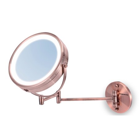 Ovente MFW85CO 8.5 inch Battery Operated LED Lighted Wallmount Vanity Makeup Mirror, 1x/10x Magnification, Antique Copper