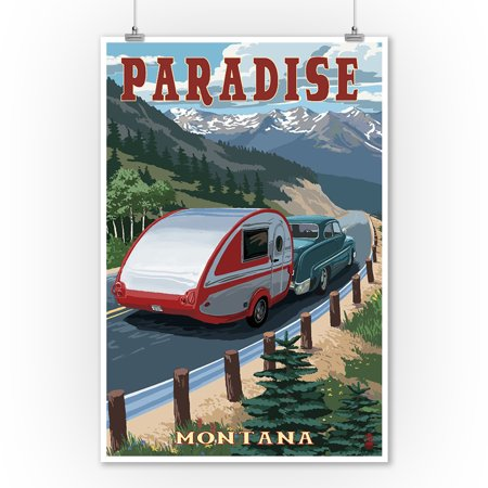 Paradise, Montana - Retro Camper - Lantern Press Artwork (9x12 Art Print, Wall Decor Travel Poster)