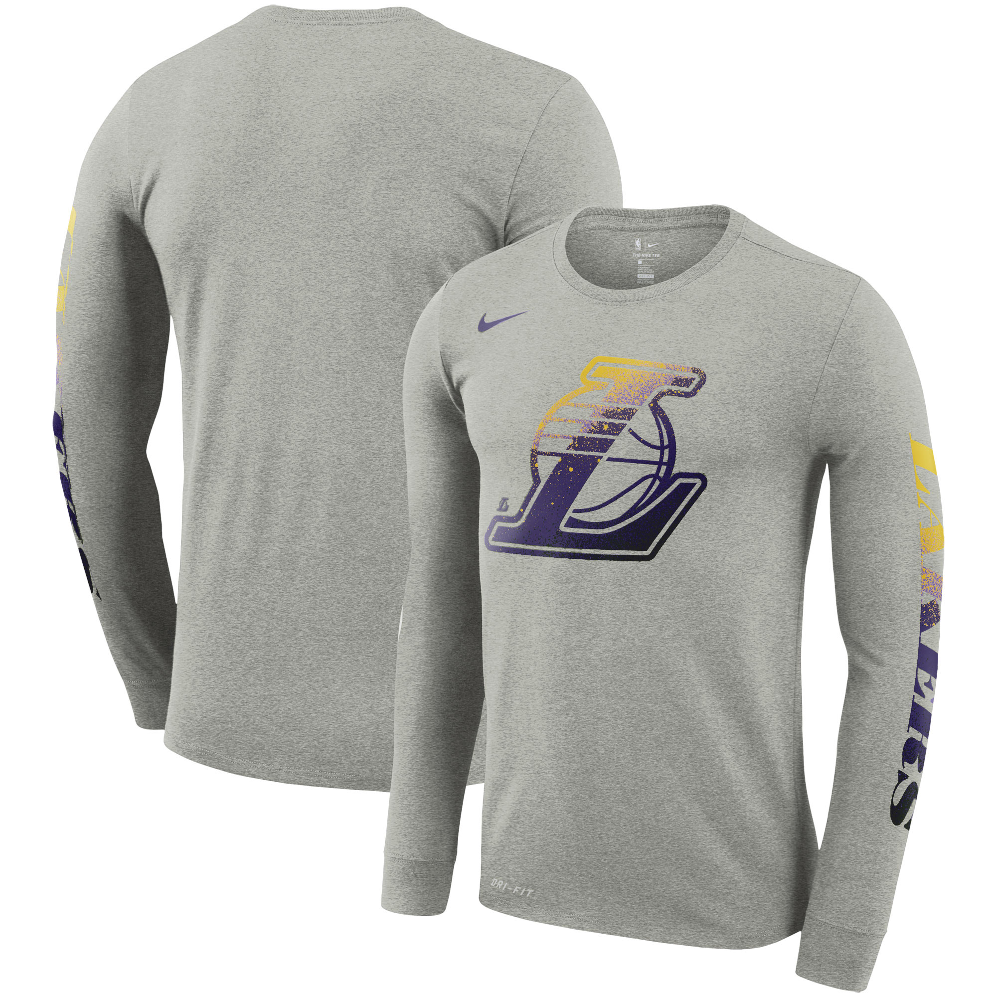 Los Angeles Lakers Nike Mezzo Print Logo Performance Long Sleeve T-Shirt - Gray